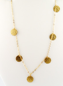 image of Hammered 6 Brass Disc Necklace