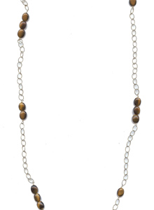image of Tigers Eye and Long Chain Necklace