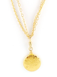 image of Three Strand Gold Fill Necklace W/ Watch hook and Vintage Inspired Pendant