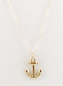 image of 14K Anchor Charm Necklace