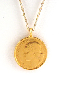 image of Round Gold Plated French Coin Necklace