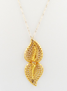 image of Double Gold Plate Filigree Leaf Necklace
