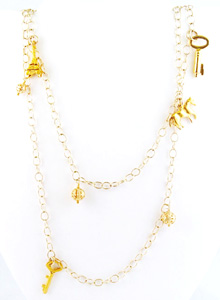 image of Long Vintage Charm Necklace