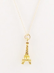 image of Vintage Gold Eiffel Tower Charm Necklace