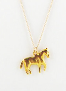image of Vintage Gold Horse Charm Necklace