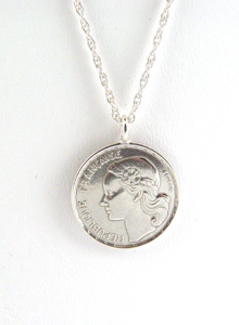image of Round Sterling Silver French Coin Necklace