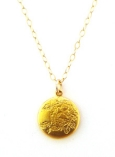 Vintage Inspired 18K Gold Plated Satin Finish Pendant on Gold Filled Chain