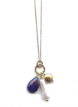Lapis and Biwa Pearl Necklace