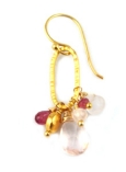 Gold Vermeil Earring with Rose Quartz, Pink Tourmaline and Vermeil Bead