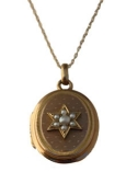 Vintage Gold Oval Locket with Pearl Star Necklace