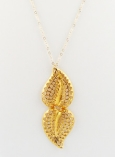 Double Gold Plate Filigree Leaf Necklace