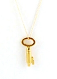 Vintage Gold Key Charm Necklace