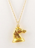 Vintage Gold Horse Head Charm Necklace