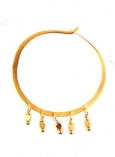 Gold Vermeil Small Hammered Hoop W/ Vermeil Beads Accents
